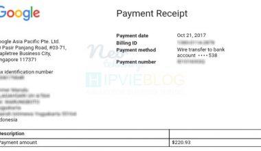 Bukti Pembayaran Google Adsense Wire Transfer Bank Danamon