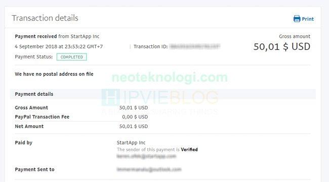 Bukti Pembayaran StartApp lewat Aplikasi Android