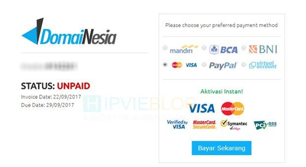 Pembayaran atau Pembelian Domain Dengan Kartu Jenius
