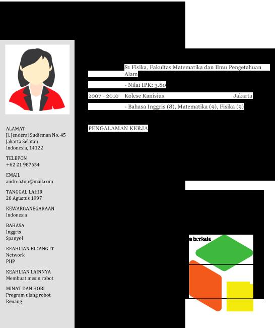 contoh template cv bahasa terbaru