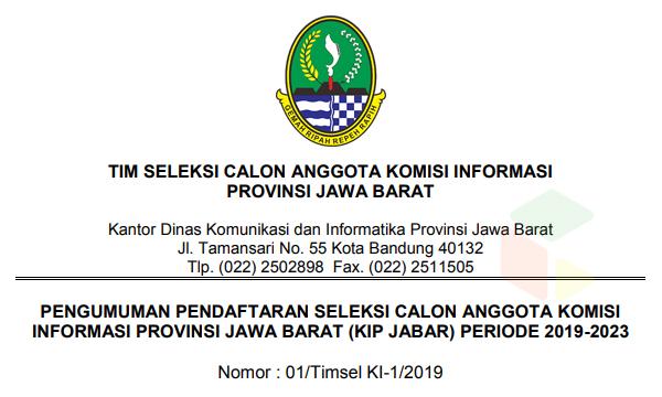 Seleksi Komisi Informasi Provinsi Jawa Barat Tahun 2019