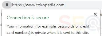 Website dengan sertifikat SSL secure