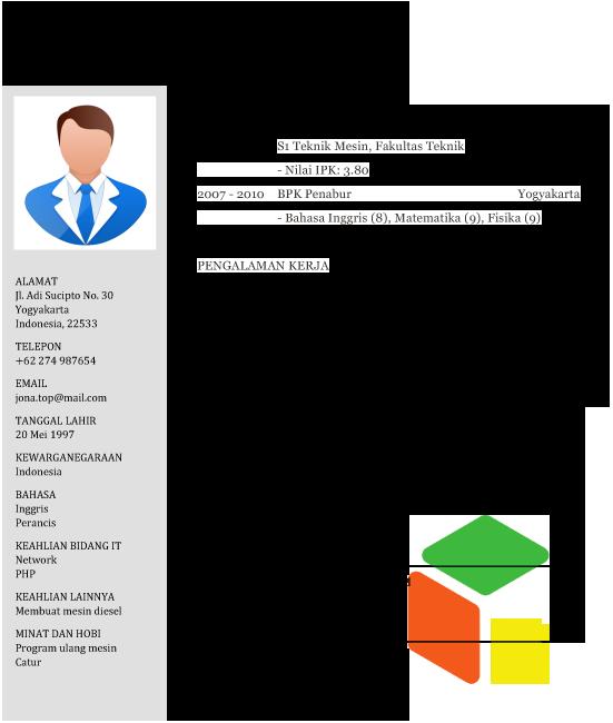 contoh cv pdf bahasa terbaru