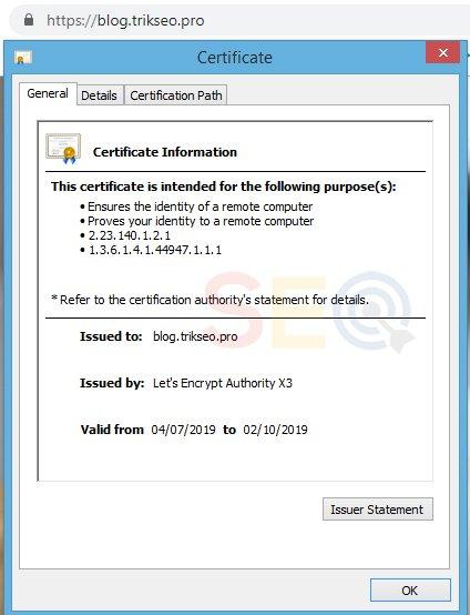 Hasil akhor instalasi sertifikat ssl gratis