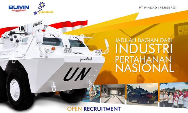 Rekrutmen PT Pindad (Persero) [Perusahaan BUMN] Tahun 2019
