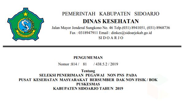 Rekrutmen Pegawai Dinas Kesehatan Kabupaten Sidoarjo 2019