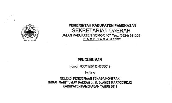 Rekrutmen RSUD dr H Slamet Martodirdjo Kab. Pamekasan 2019