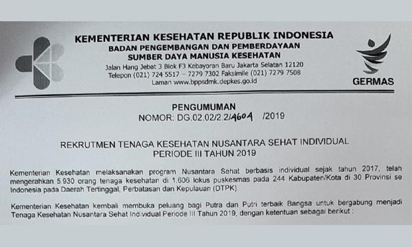 Rekrutmen Nusantara Sehat [Tenaga Kesehatan] Kemenkes 2019
