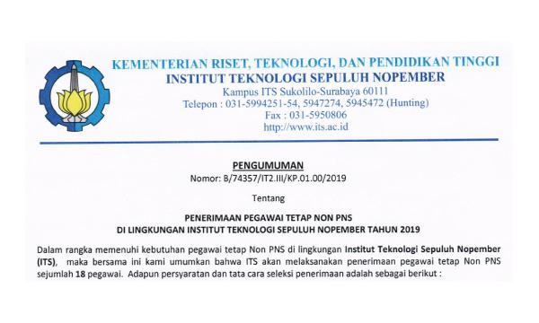 Rekrutmen Pegawai ITS (Institut Teknologi Sepuluh Nopember)