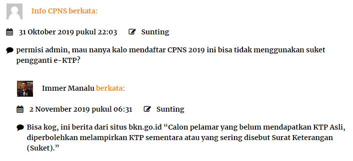 Suket KTP bisa registrasi CPNS