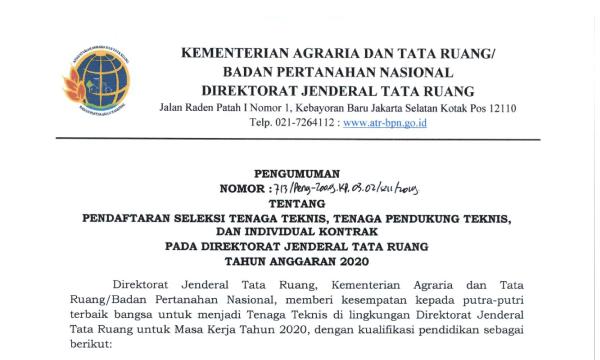 Rekrutmen Kementerian Agraria dan Tata Ruang/BPN Tahun 2020