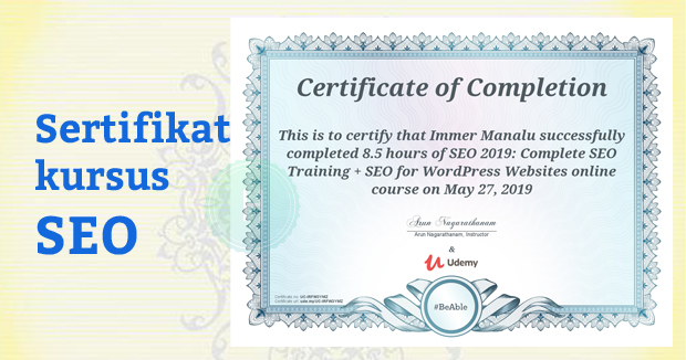 Sertifikat Training SEO via Udemy by Arun