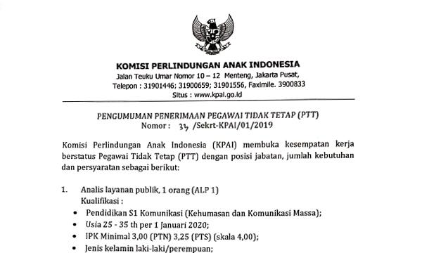 Rekrutmen KPAI (Komisi Perlindungan Anak Indonesia) 2020