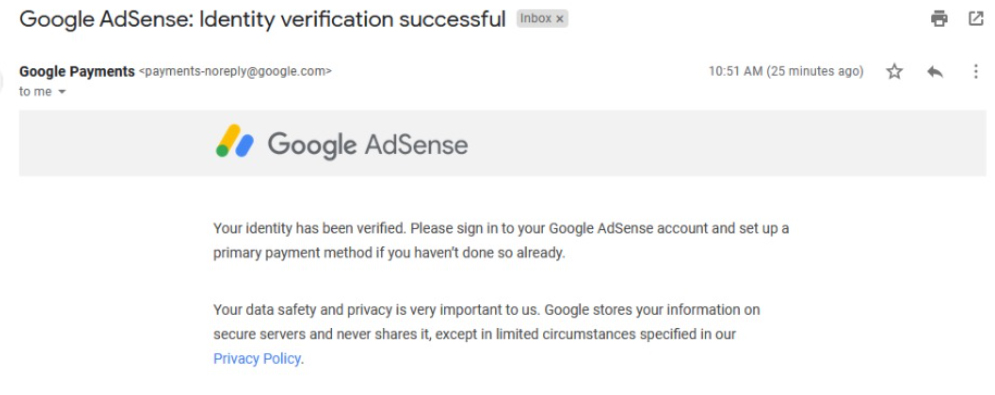 Cara verifikasi Google Adsense Menggunakan Passport email successful verification