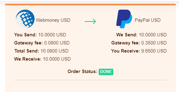 done webmoney to paypal
